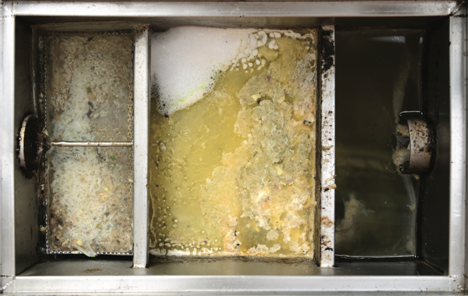 Commercial kitchens are required to fit some type of grease interceptor to collect fat before it enters the sewer.